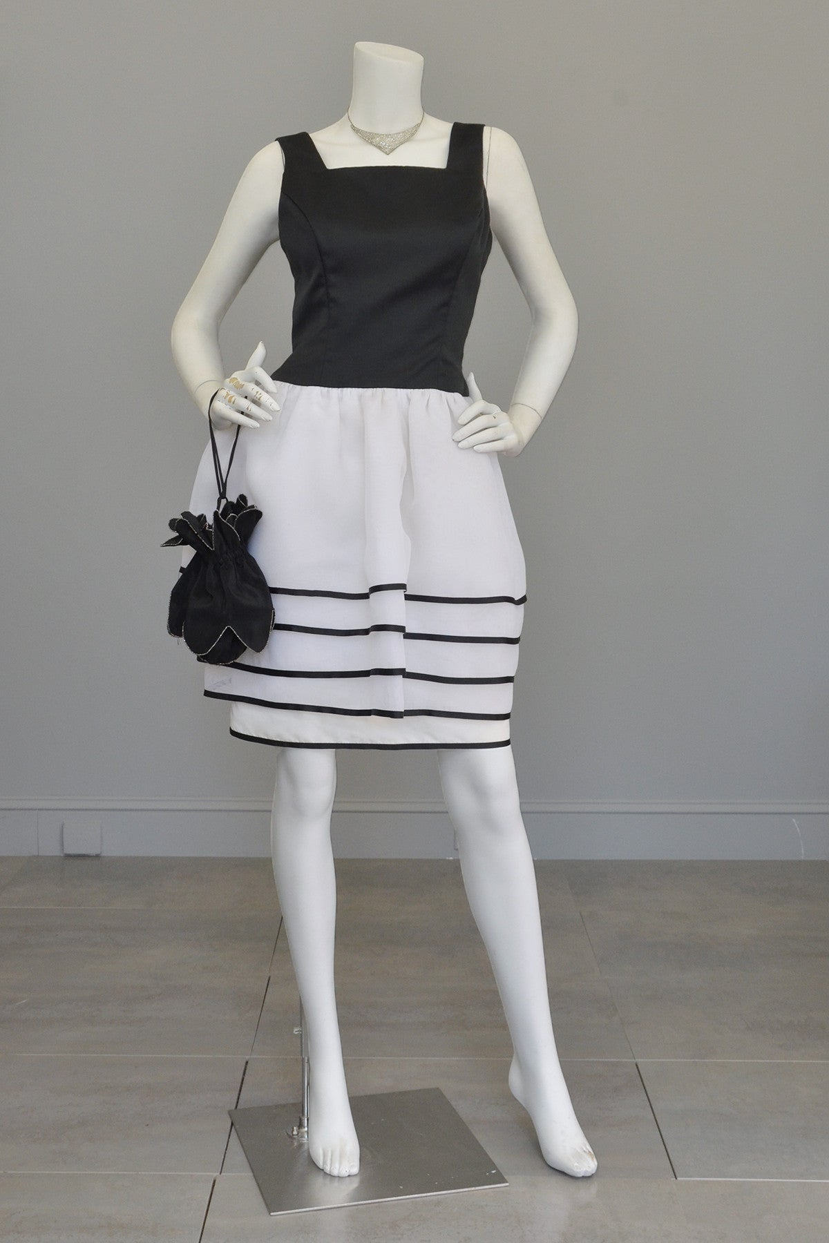 1980s Victor Costa Black White Peplum Skirt Cocktail Party Dress