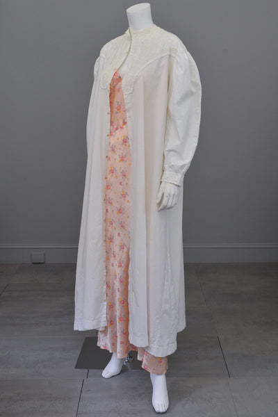 Edwardian Victorian Soutache Embroidered White Cotton 'Lab' Coat Robe Duster