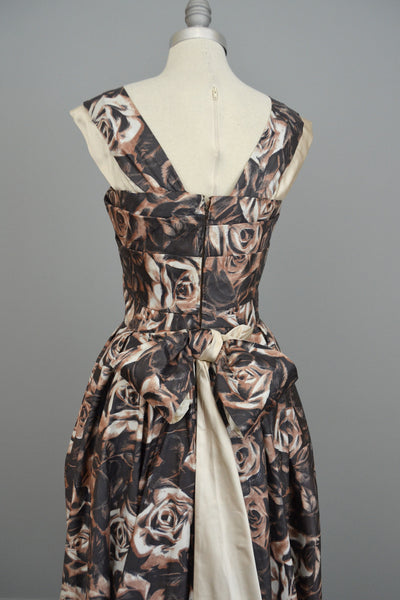 Vintage 1950s Retro Floral Print Evening Gown