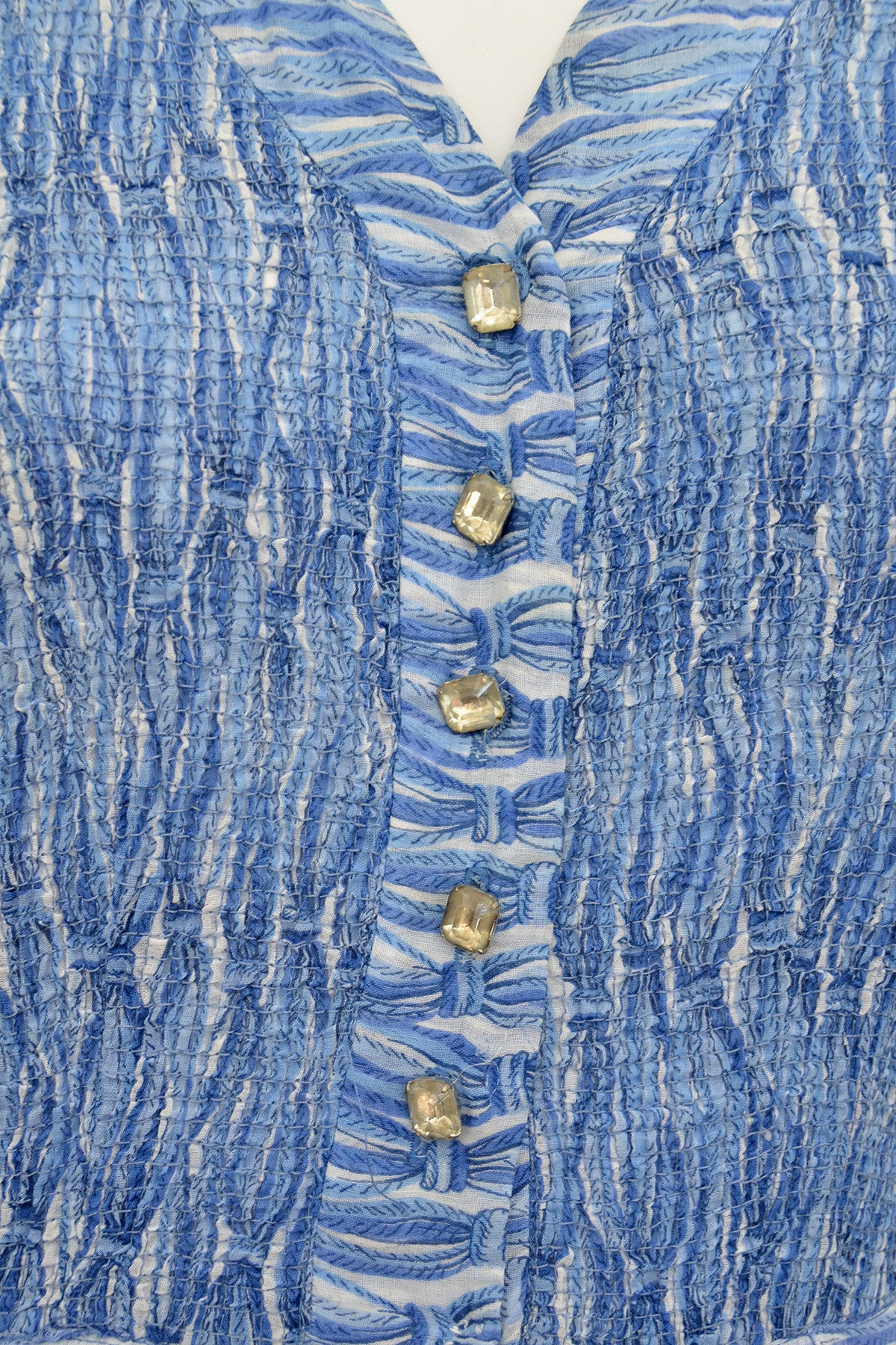 1950s Oceanic Blue Smocked Sundress with Crystal Buttons