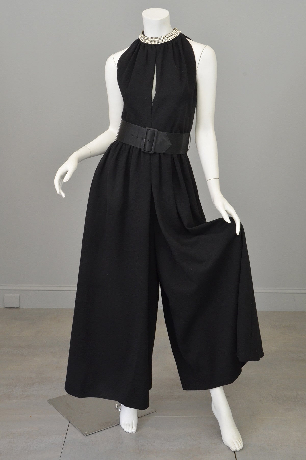 1970s Black Knit Keyhole Crystal Beaded Wide Leg Palazzo Jumpsuit