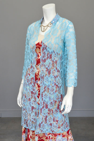 Vintage Baby Blue Lace and Mesh Duster