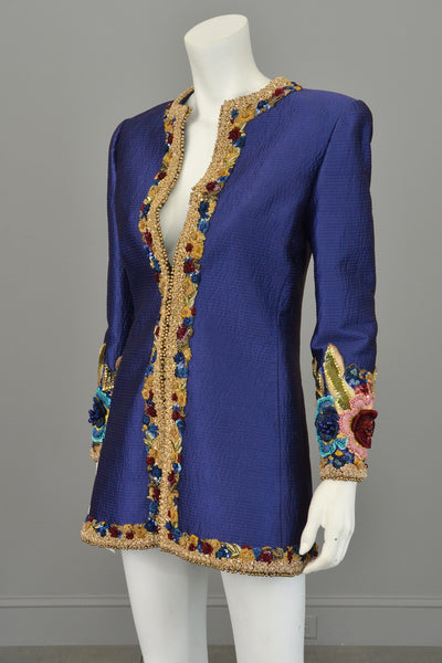 Mary Mcfadden Couture Embroidered Beaded Evening Coat