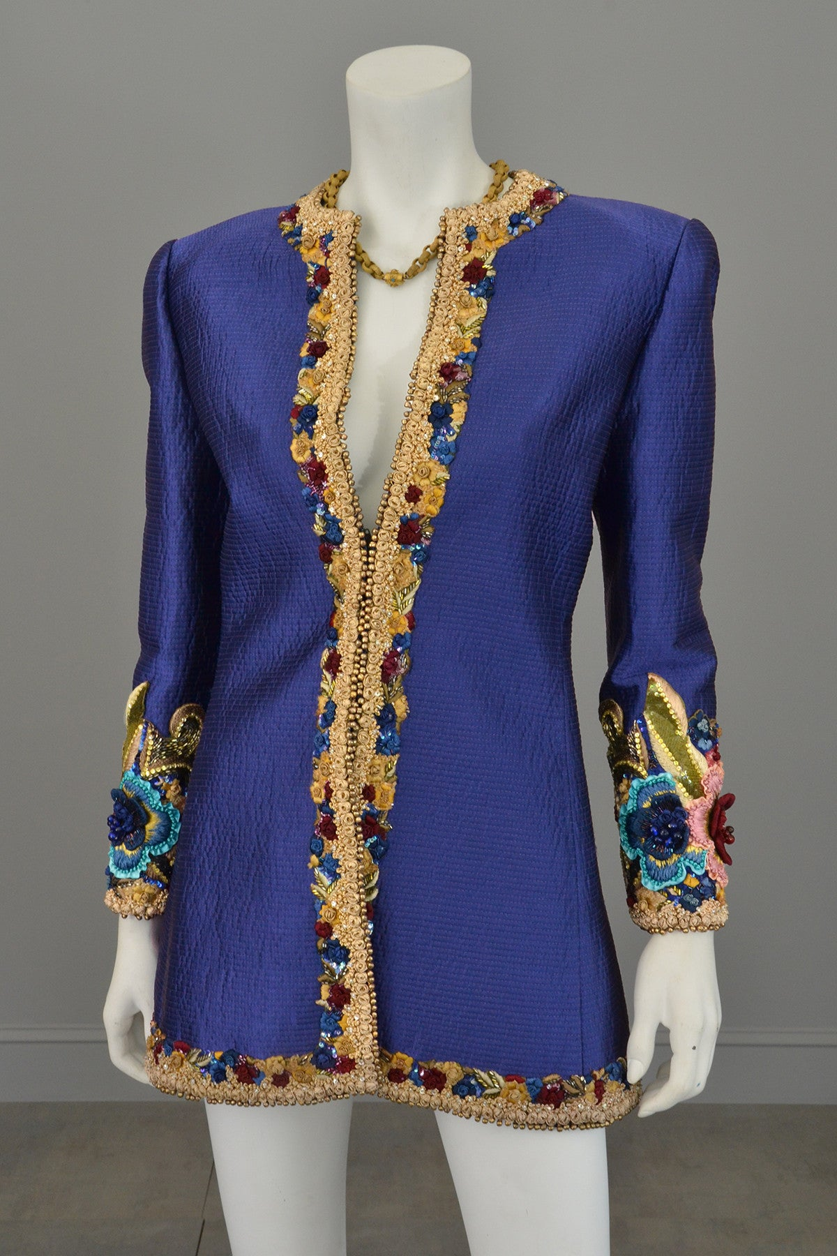 Mary McFadden Couture Embroidered Beaded Evening Coat Jacket