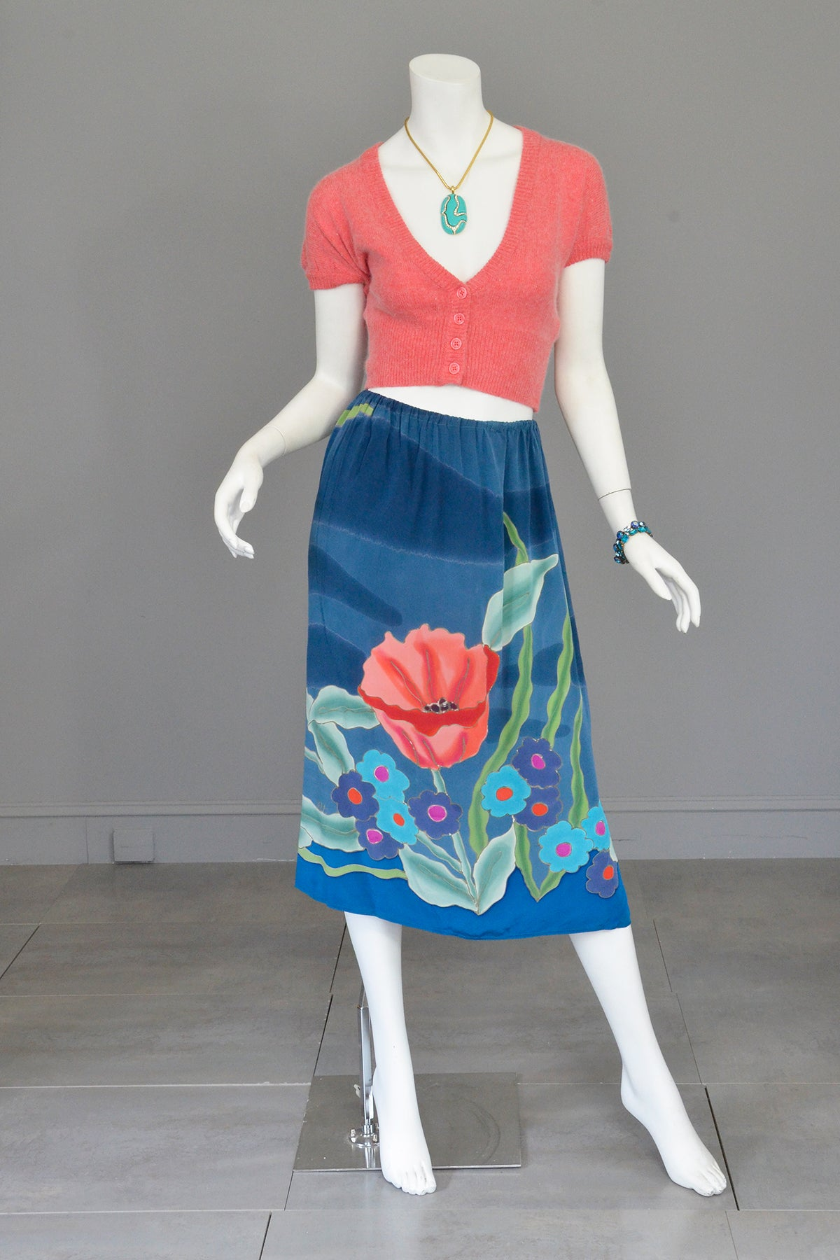 1970s Hand Dyed Painted Poppy Floral Print Silk Skirt