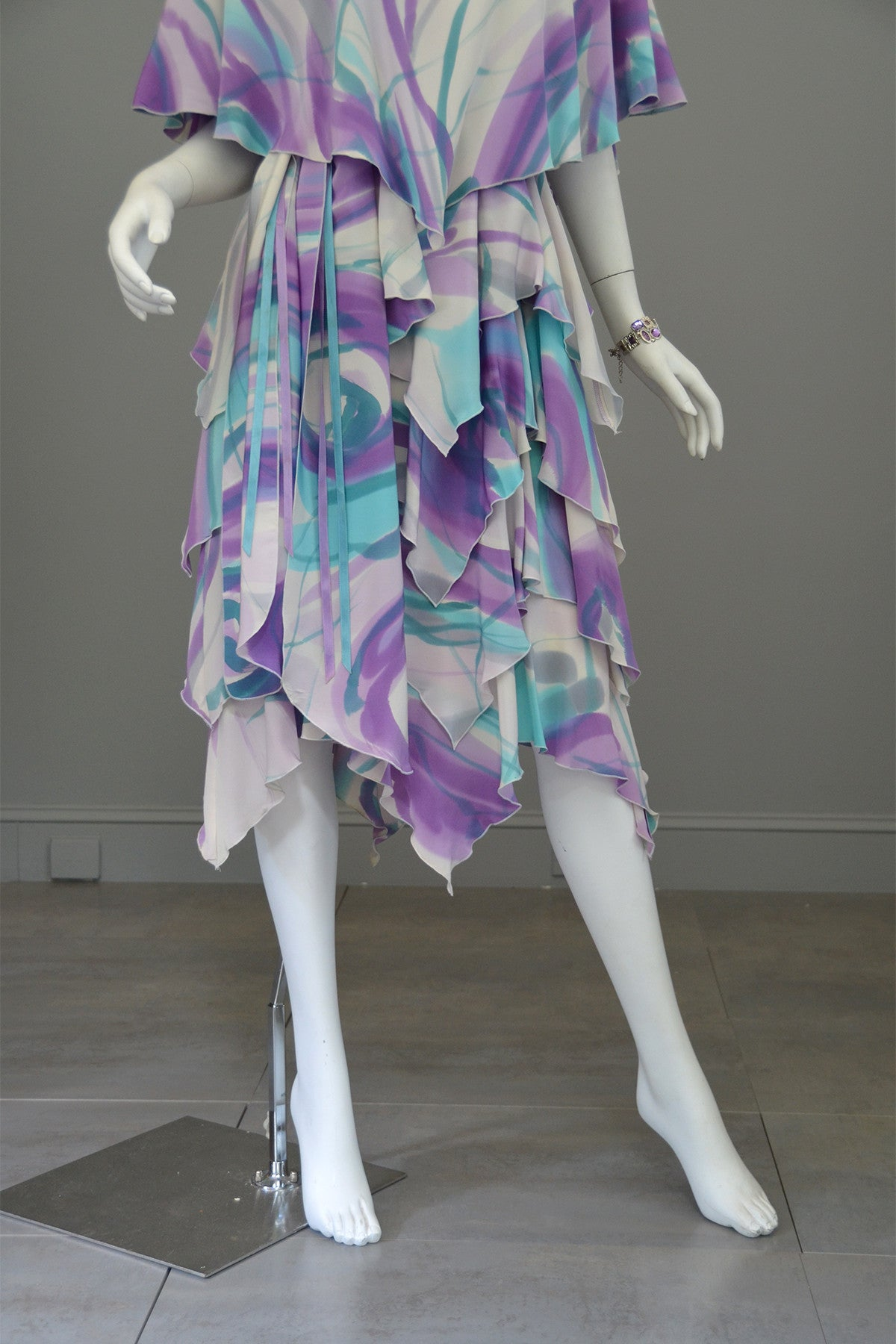 1990s Hand Dyed Silk Tiered Dress Size M/L
