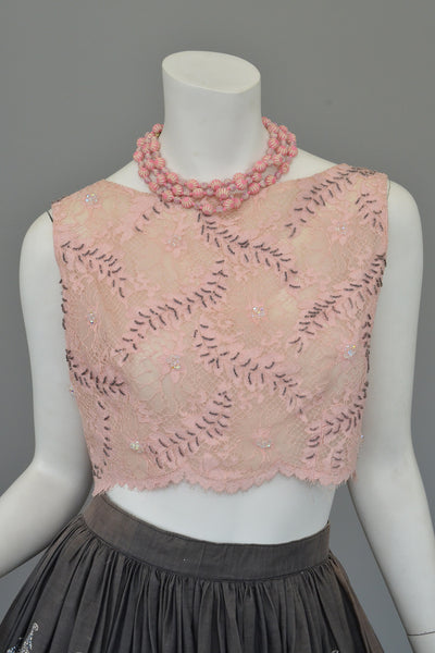 Vintage Pink Lace Beaded Pinup Crop Top
