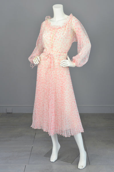1970s Vintage Albert Capraro Poly Chiffon Retro Ruffles Pleats Peasant Dress