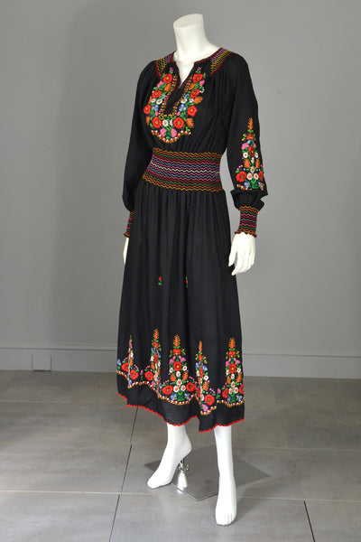 Vtg Embroidered Flowers on Black Hungarian style Peasant Dress