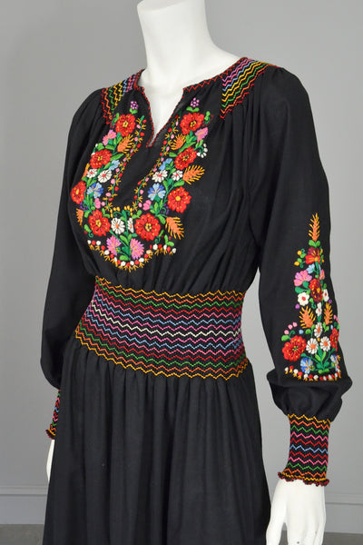 vtg embroidered flowers on black hungarian style peasant