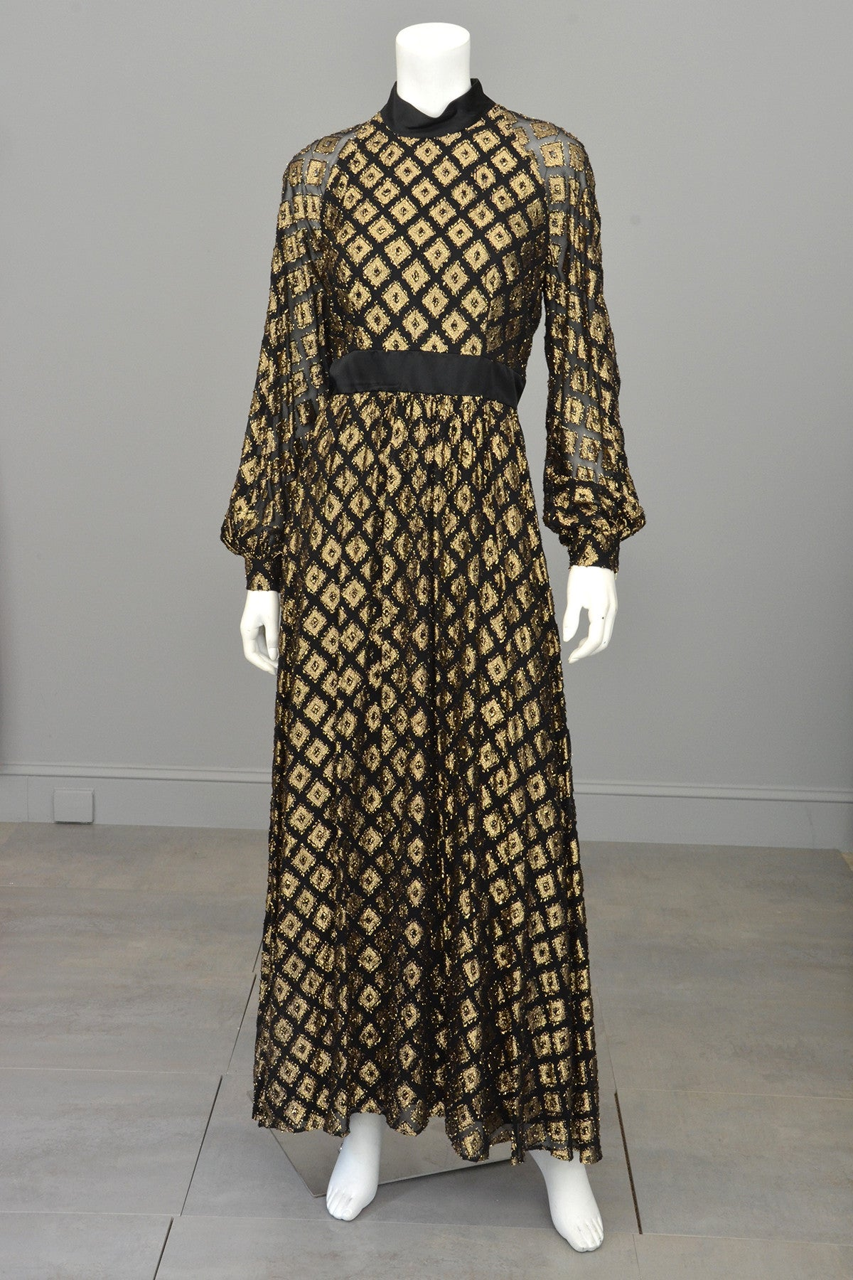 1970s Black Chiffon Gold Lamé Full Skirt Maxi Dress Gown