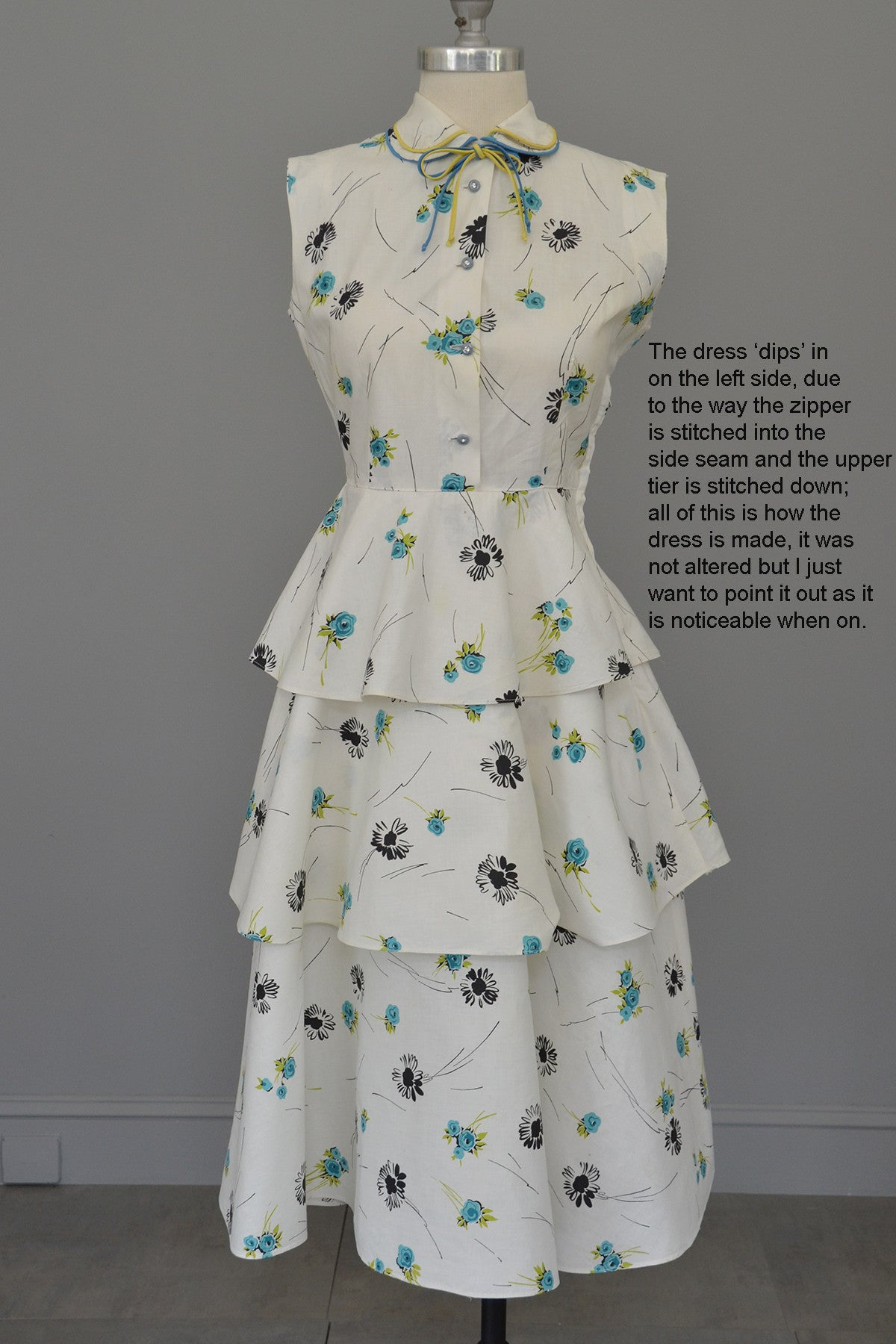 Vintage 40s 50s White Cotton Floral Print Tiered Dress