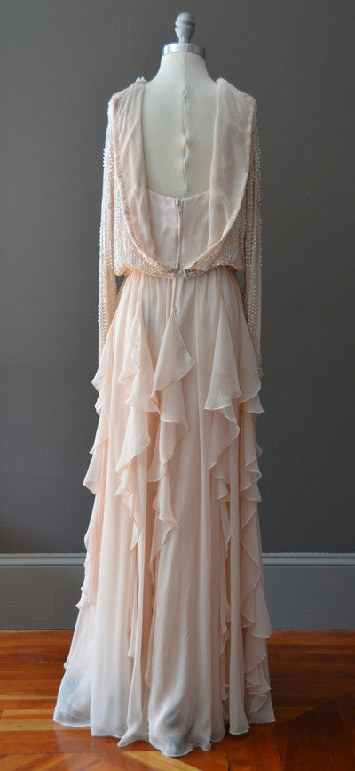1970s Beaded Silk Chiffon Flutter Hem Gown Maxi Dress