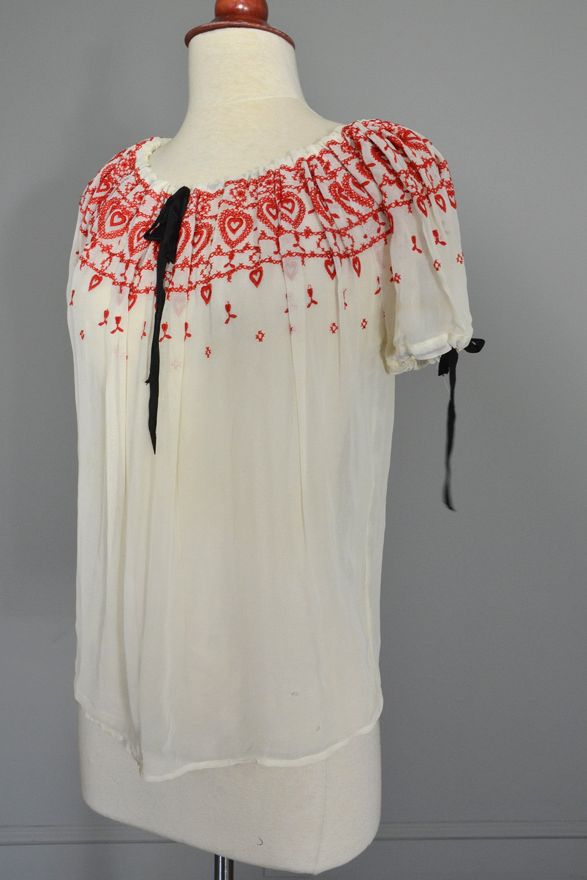 Red Hearts on Pearly White Nylon Chiffon Peasant Top