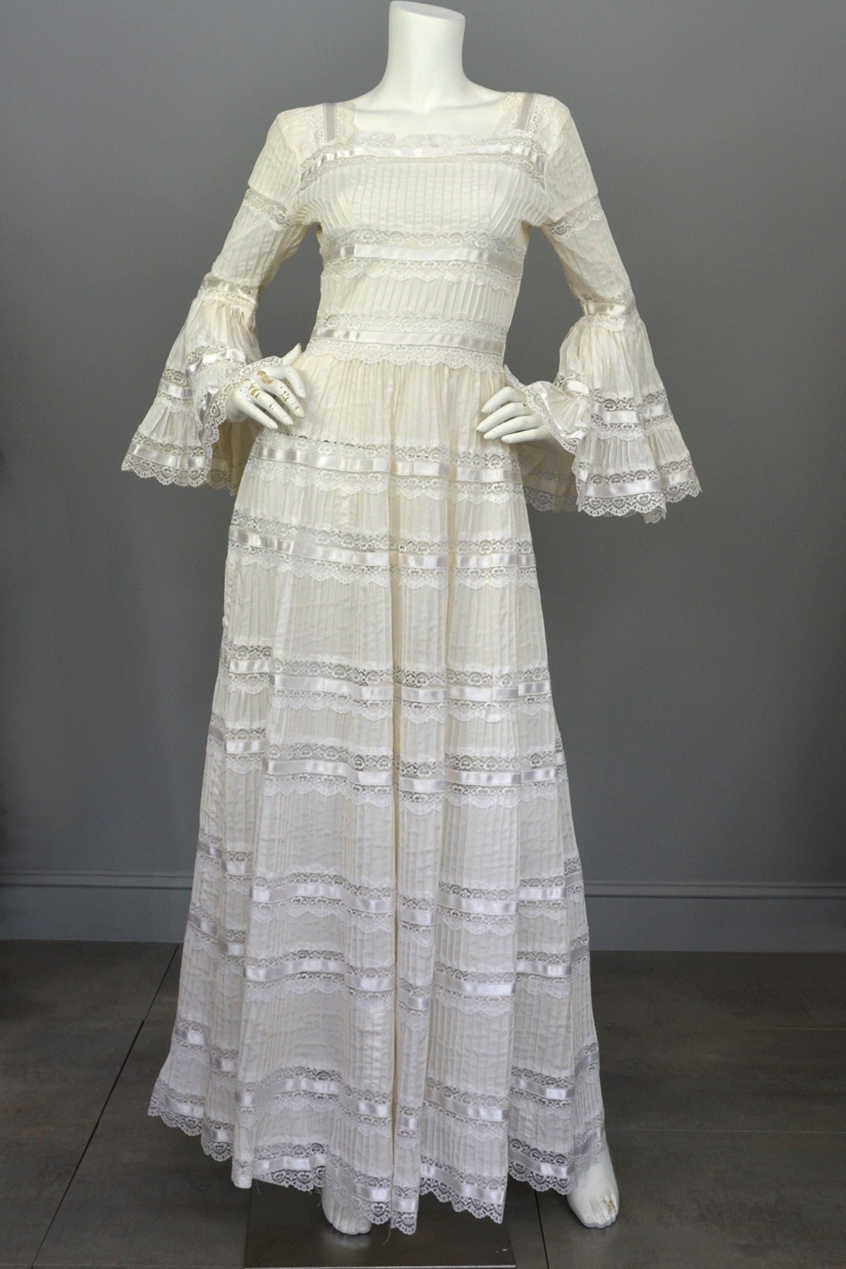 daa1020aad7 1970s Vintage Mexican Wedding Dress with Bell Sleeves and Lace |  VintageVirtuosa