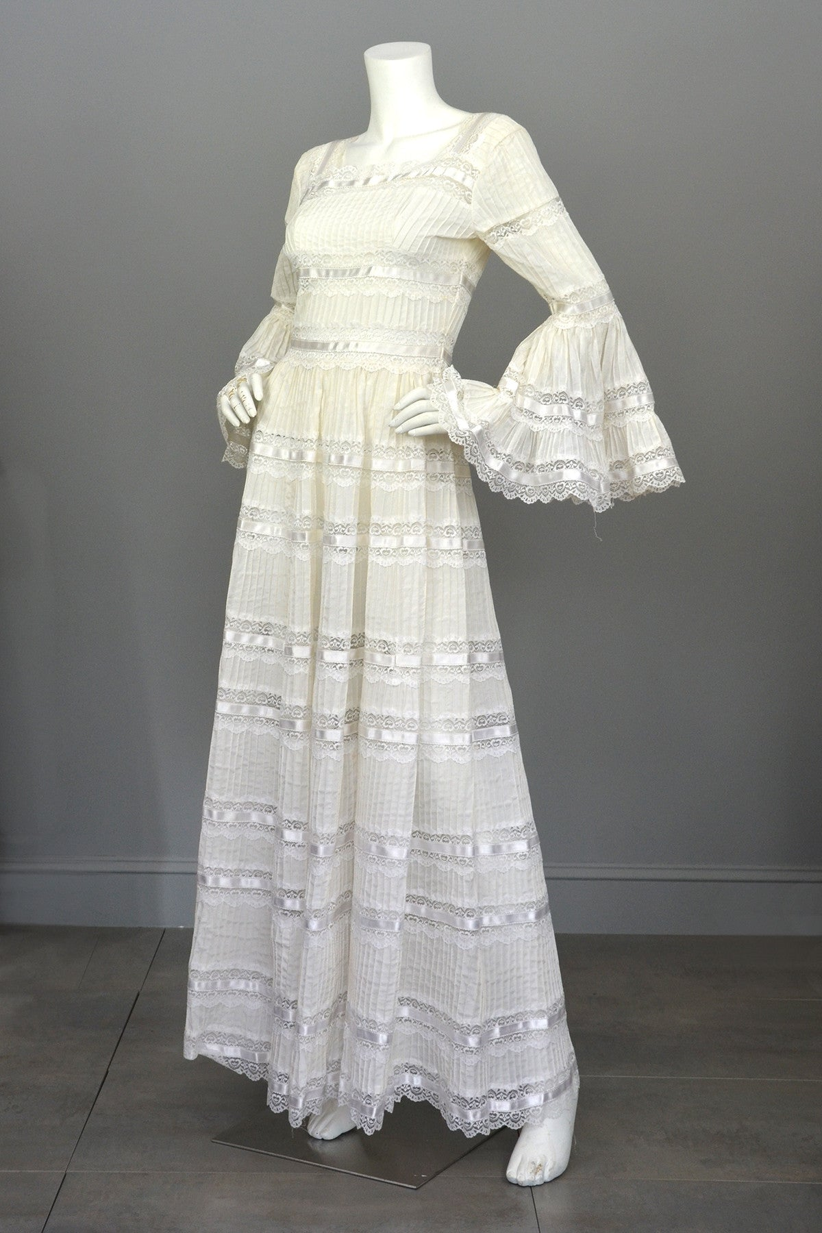 1970s Vintage Mexican Wedding Dress with Bell Sleeves and Lace