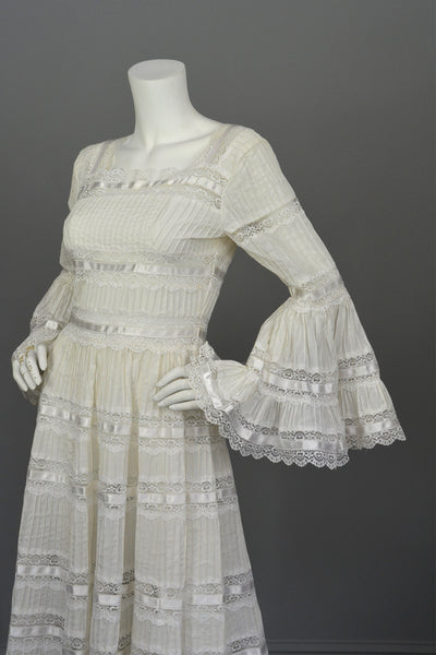 1970s Vintage Mexican Wedding Dress With Bell Sleeves And
