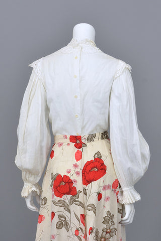 White Cotton Poet Sleeve Victorian Style Blouse