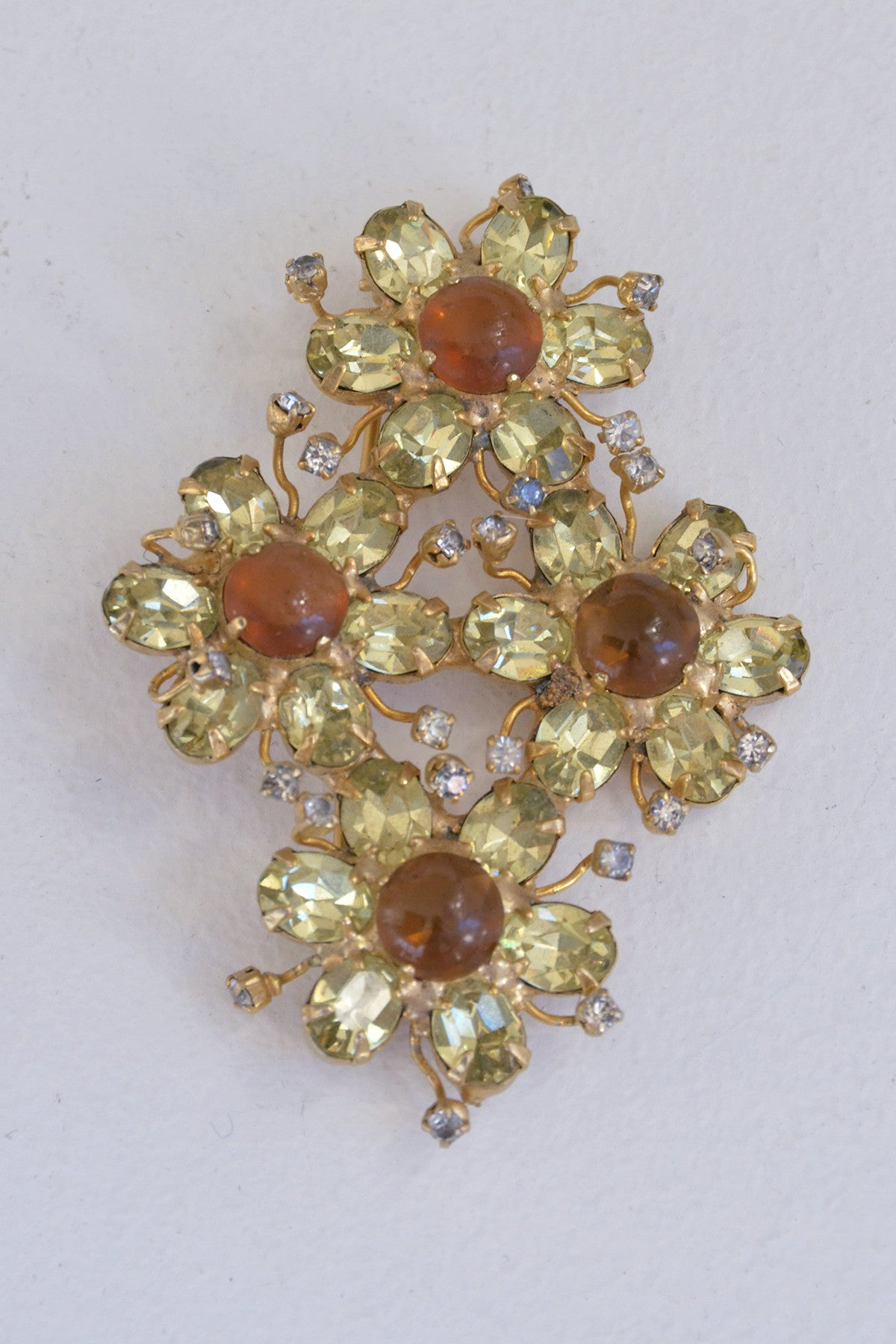 Yellow Crystal Cognac Jelly Belly Brooch