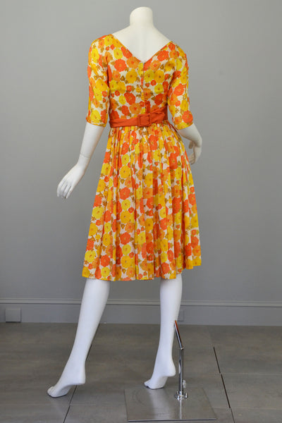 1960s Sunshine Yellow And Orange Retro Flower Print