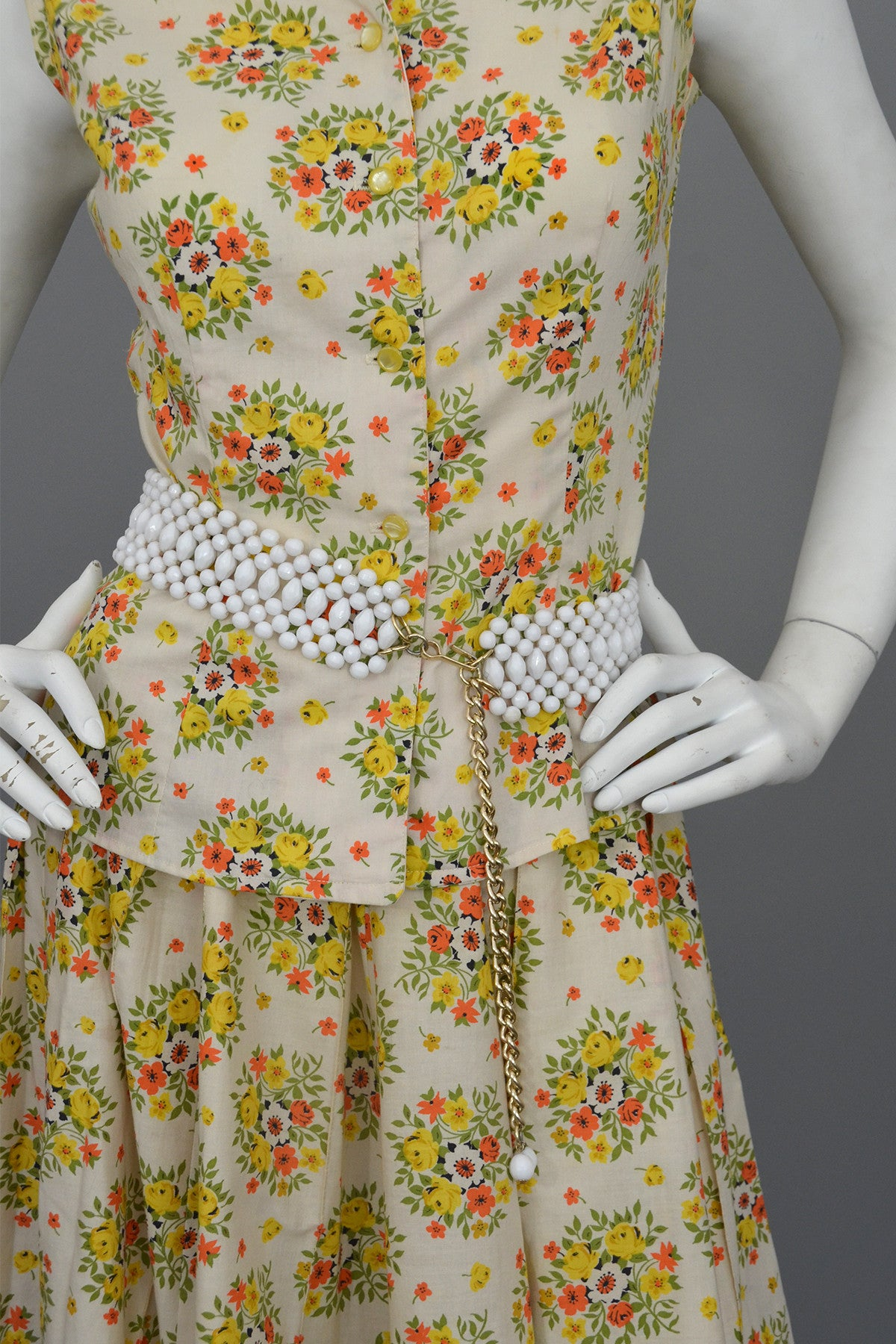 Vintage 1950 S Cotton Yellow Rose Print Skirt And Top