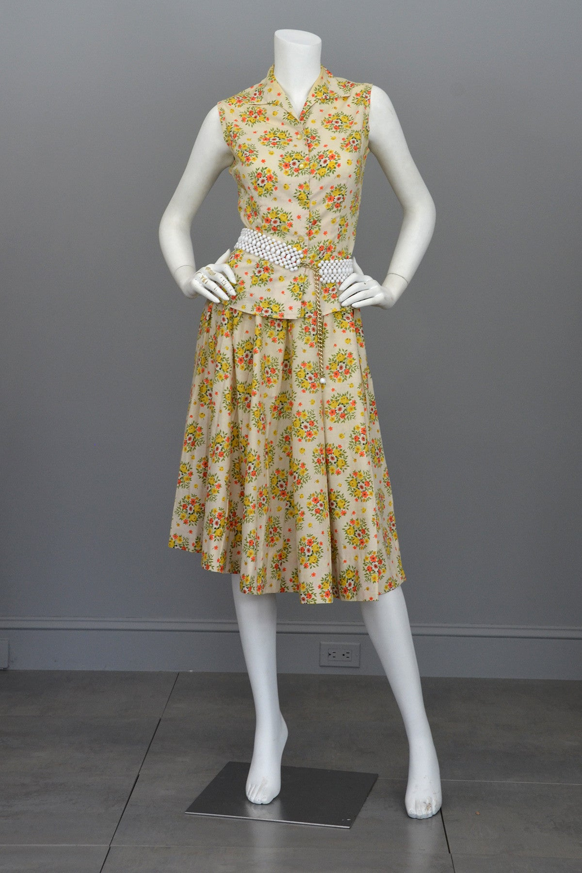 Vintage 1950's Cotton Yellow Rose Print Skirt and Top Dress