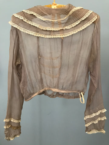 Sheer Taupe Silk Chiffon Edwardian Blouse - buy for $25 or Gift With Purchase of another item