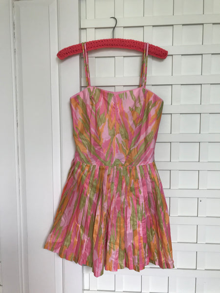 1960s Pinup MOD Abstract Swimsuit Romper w Pleated Skirt
