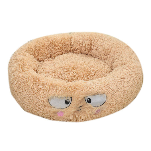 Round Dog Bed Long Plush