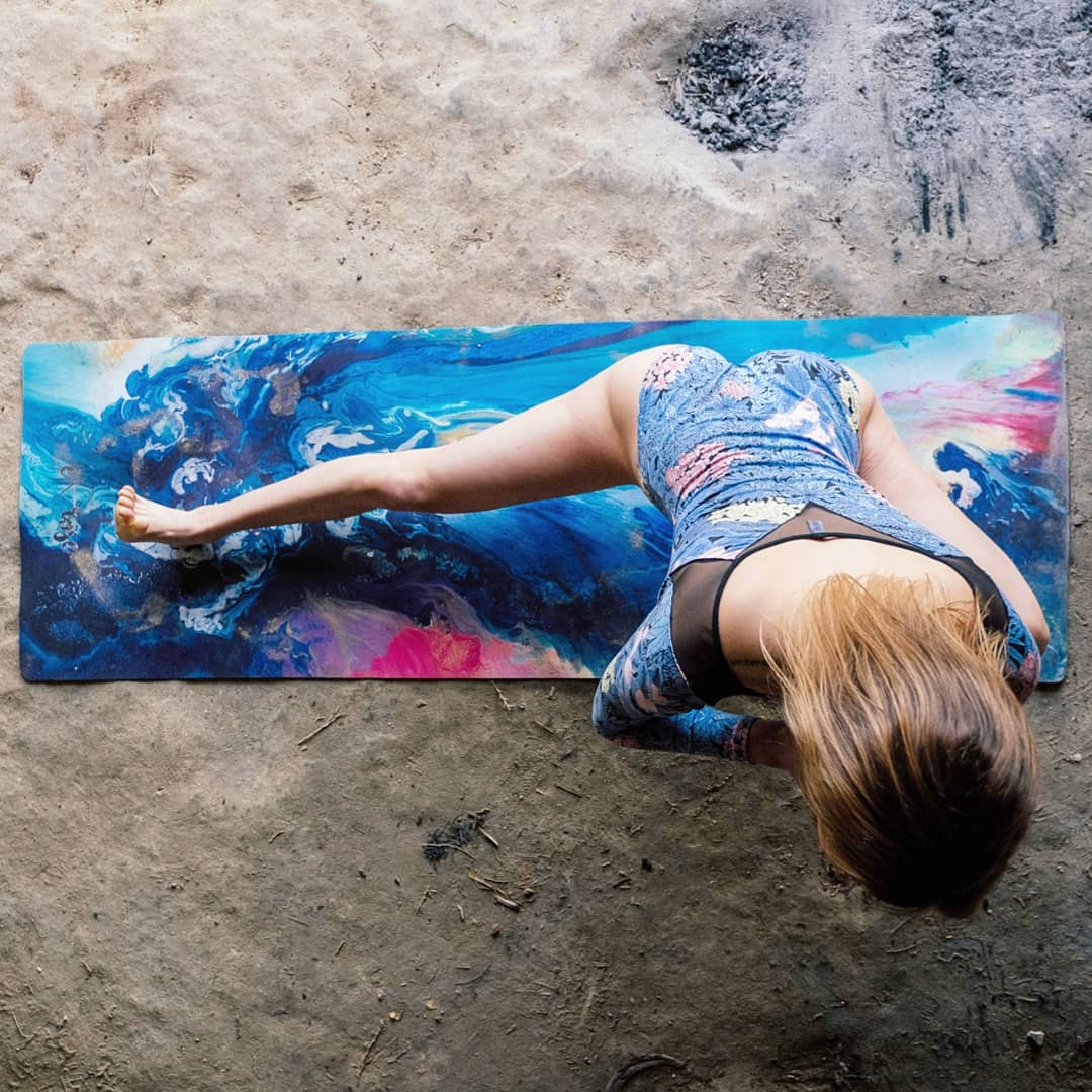 WILD WATERS ECO YOGA MAT & FREE JUTE STRAP - Emilia Rose Art Eco Yoga Mats