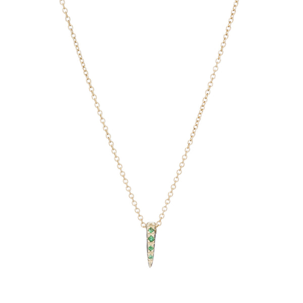 MINI HORN NECKLACE W EMERALD PAVE