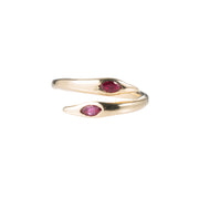 Raw Snake Ring with Rubies - Gold