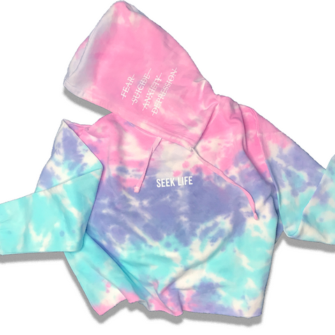 Cotton Candy Crop Tie Dye Hoodie Seek Life