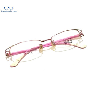 Pink Designer Supra Half Rimless Blue Light Blocker Computer Glasses for Women 1101PK