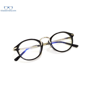Round Blue Light Blocker Computer Glasses Anti Blue Ray Eyeglasses 1307005BK