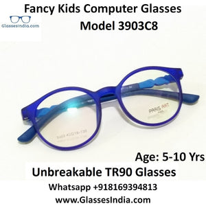 Round Kids Computer Glasses Blue Light Blocker Anti Blue Ray Eyeglasses  3903C8