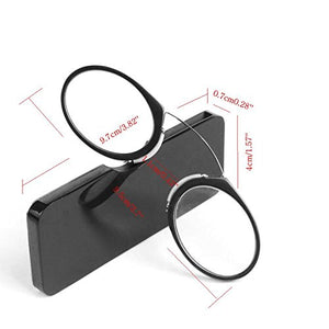 Unisex Nose Reading Glasses without side temples/arms with Pod Case, credit card size Power +1.50