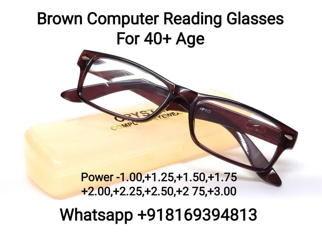 Brown Computer Reading Glasses for Men and Women