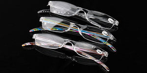 Fancy Colored Striped Slim Vision Rimless Reading Glasses for Men and Women