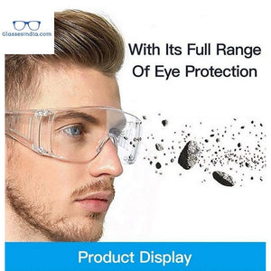 Protective Safety Goggles Clear Lens Wide-Vision Adjustable Chemical Splash Lightweight Protective Eyeglass with Clear Lens for Lab - GlassesIndia