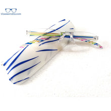 Load image into Gallery viewer, Fancy Colored Striped Slim Vision Rimless Reading Glasses for Men and Women