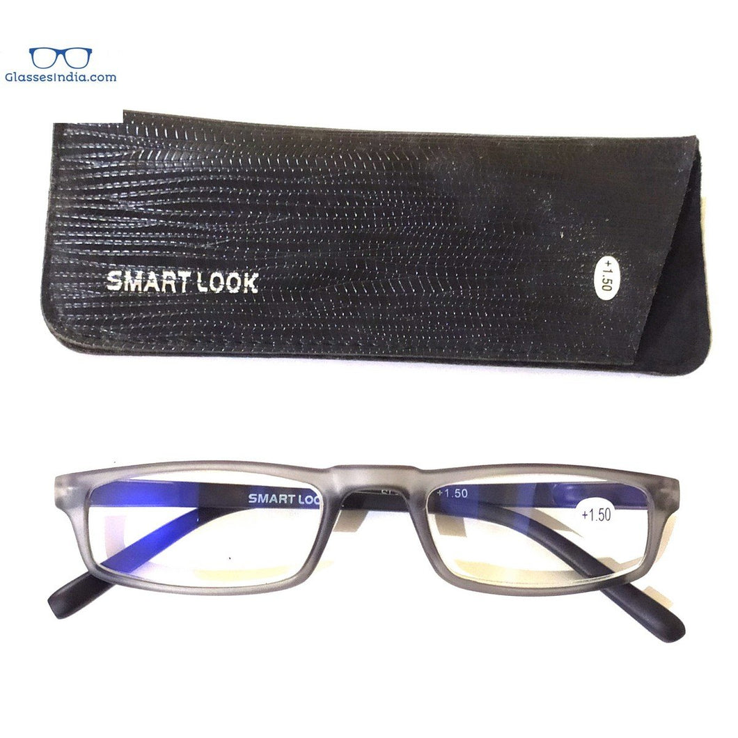 Grey Computer Reading Glasses Blue Light Blocking Reader Eyeglasses Anti Glare Eye Strain Light Weight for Women Men - GlassesIndia