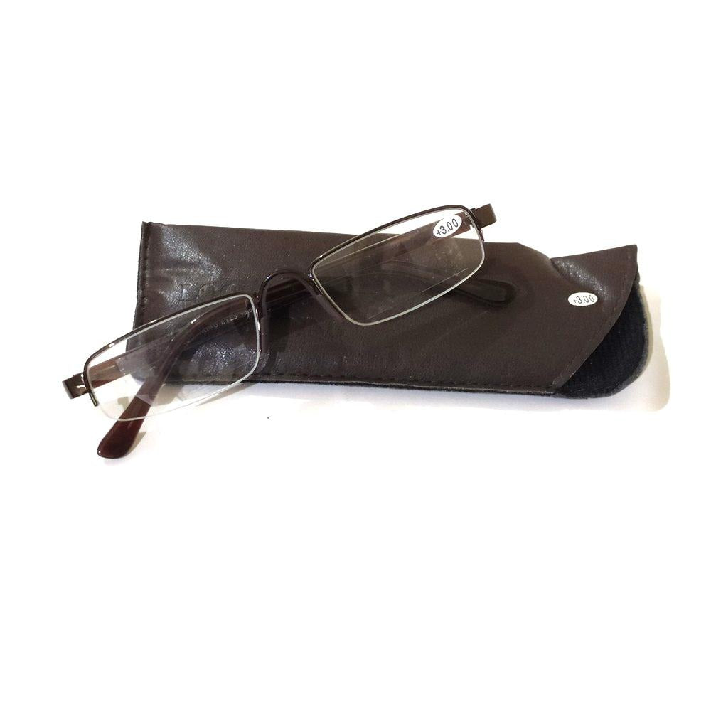 Brown Unisex Semi Rimless Half Frame Rectangle Reading Glasses For Men Women Fashion Readers with Fixed Pads and UV Protection - GlassesIndia