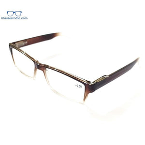 Brown Two Tone Rectangle Reading Glasses For Men Women Fashion Readers with Spring Hinges - GlassesIndia