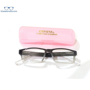 Grey Two Tone Rectangle Blue Block Computer Reading Glasses For Men Women