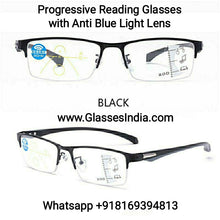 Load image into Gallery viewer, Progressive Reading Glasses with Blue Block Blue Arc Lens