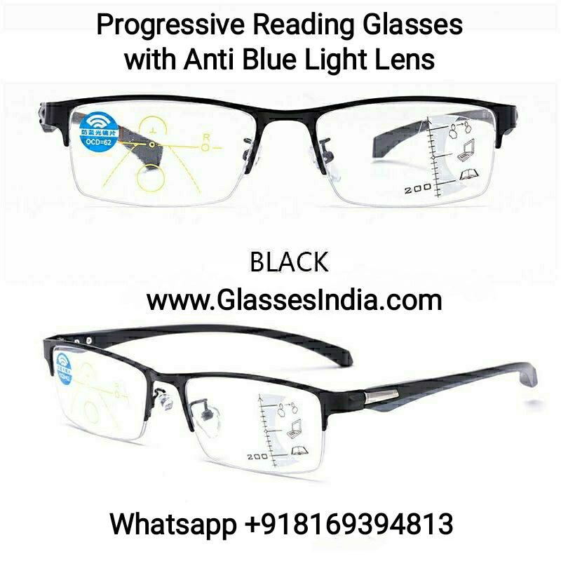 Progressive Reading Glasses with Blue Block Blue Arc Lens
