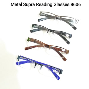 Unisex Semi Rimless Half Frame Rectangle Reading Glasses For Men Women with Spring