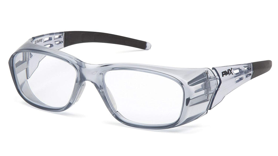 Pyramex Emerge Plus Safety Glasses Clear +2.0 Full Reading Lens with Gray Frame