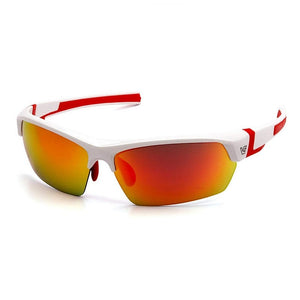 Pyramex Sunglasses Sky Red Mirror Anti-Fog Lens with White Red Frame